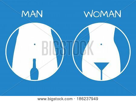 Man and lady toilet sign, restroom icon, white over blue background