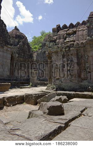 A courtyard in Preah Khan Temple Cambodia.