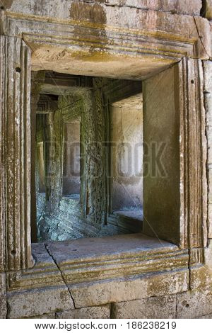 A few windows in Preah Khan Temple Cambodia.