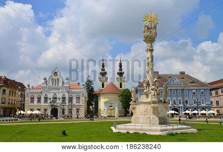 TIMISOARA ROMANIA - 05.08.2017: union square buildings landmark architecture