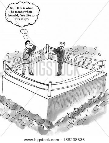 Business cartoon about a corporate culture that likes to 'mix it up'.