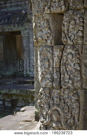 Carving detail in Preah Khan Temple Cambodia.