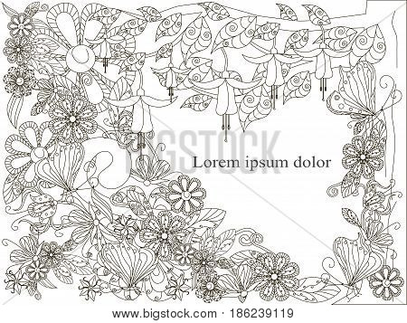 Monochrome doodle hand drawn background with Lorem ipsum, flowers background. Anti stress stock vector illustration