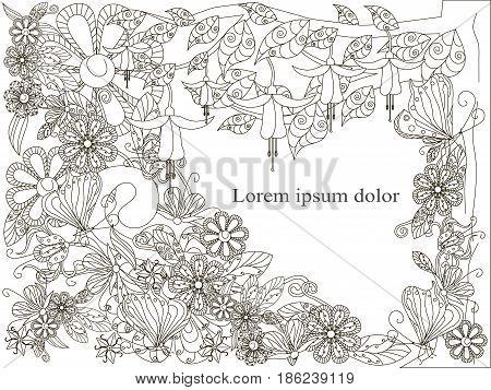 Monochrome doodle hand drawn background with Lorem ipsum, flowers background. Anti stress stock vector illustration