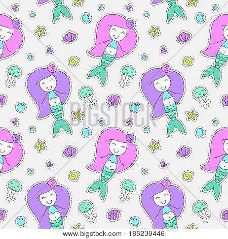 vector seamless pattern of cartoon mermaid, shell, starfish, jellyfish and bubble
