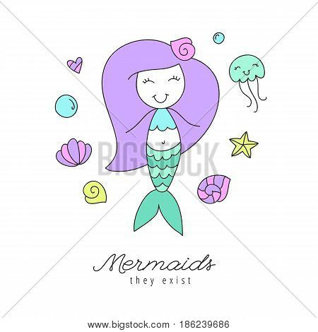 cartoon mermaid, shells, starfish, jellyfish and bubbles, sea elements for design