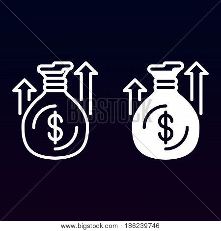 Money bag or sack with up arrows line and solid icon outline and filled vector sign linear and full pictogram isolated on white. Symbol logo illustration