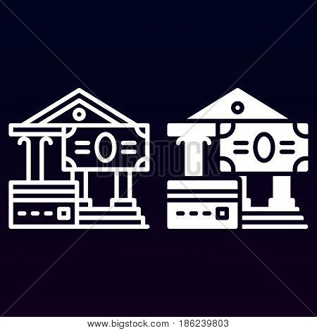 Credit card and cash payments line and solid icon outline and filled vector sign linear and full pictogram isolated on white. Monetary transactions symbol logo illustration