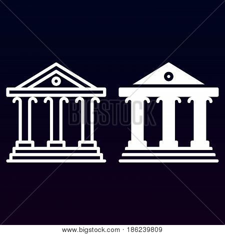 Court building line and solid icon outline and filled vector sign linear and full pictogram isolated on white. Bank symbol logo illustration