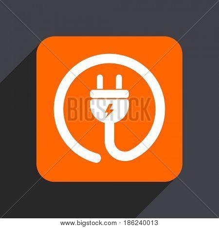 Electric plug orange flat design web icon isolated on gray background