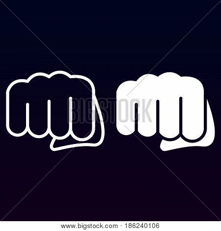 Fist forward punch line and solid icon outline and filled vector sign linear and full pictogram isolated on white. Symbol logo illustration