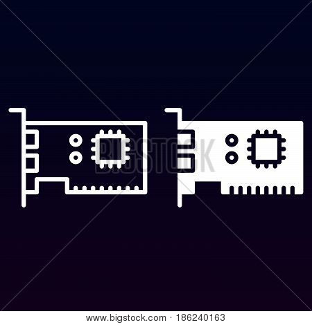 Computer parts line and solid icon outline and filled vector sign linear and full pictogram isolated on white. Symbol logo illustration