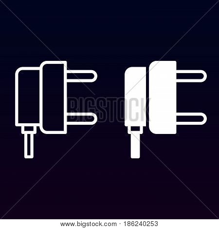 AC power plug line and solid icon outline and filled vector sign linear and full pictogram isolated on white. Symbol logo illustration