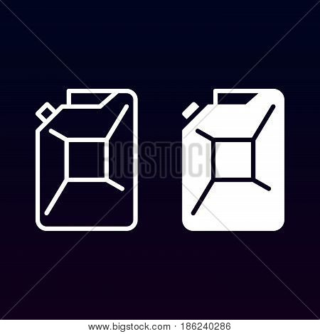 Petrol jerrycan line and solid icon outline and filled vector sign linear and full pictogram isolated on white. Symbol logo illustration