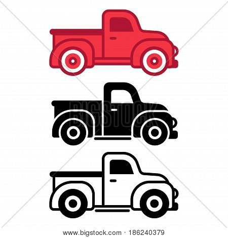 Classic retro pickup truck icon set. Simple flat cartoon style vector illustration.