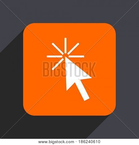 Click here orange flat design web icon isolated on gray background