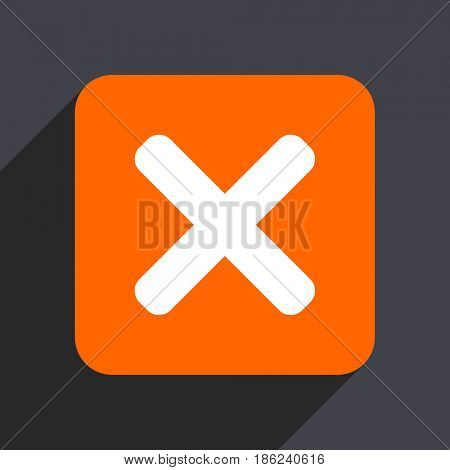 Cancel orange flat design web icon isolated on gray background
