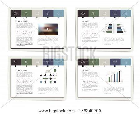 4 presentation business templates. Infographics for leaflet poster slide magazine book brochure website print.
