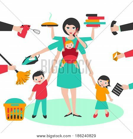 Multitask woman. Mother businesswoman with children and bab yin sling ironing working coocking and calling.