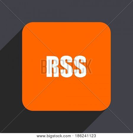 Rss orange flat design web icon isolated on gray background
