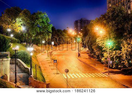 Alley of Heroes of the Heavenly Hundred in Kiev. Night view of the Instytutska Street near Khreshchatyk street and a central square - Maidan Nezalezhnosti in capital of Ukraine - Kyiv