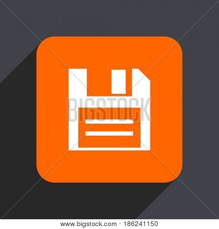Disk orange flat design web icon isolated on gray background