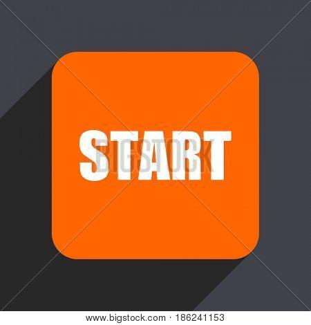 Start orange flat design web icon isolated on gray background