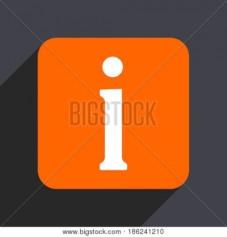 Information orange flat design web icon isolated on gray background