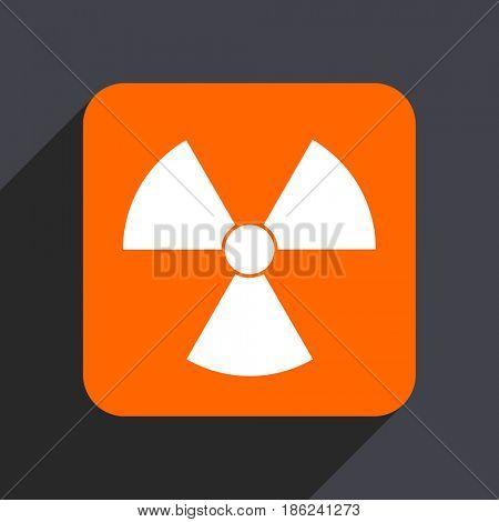Radiation orange flat design web icon isolated on gray background