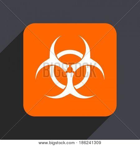 Biohazard orange flat design web icon isolated on gray background