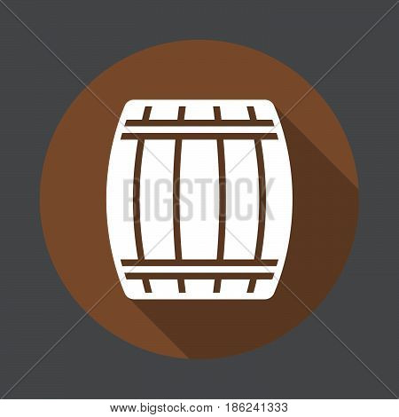 Wooden keg barrel flat icon. Round colorful button circular vector sign with long shadow effect. Flat style design