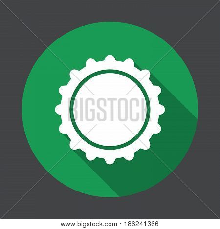 Bottle cap flat icon. Round colorful button circular vector sign with long shadow effect. Flat style design