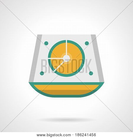 Abstract symbol of stage sound mixer. Musical festival equipment and organization. Flat color style vector icon.