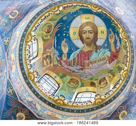 Christ Pantocrator, Mosaic In Church Of The Savior, St Petersburg