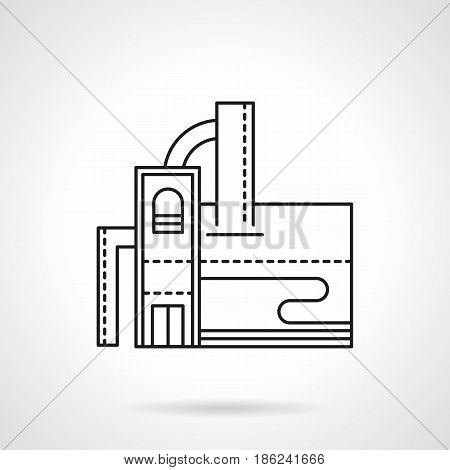 Abstract symbol of distillery plant. Building with towers and pipelines. Industrial architecture. Flat black line vector icon.