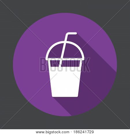 Milkshake takeaway cup flat icon. Round colorful button circular vector sign with long shadow effect. Flat style design