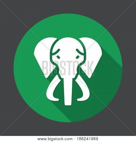 Elephant flat icon. Round colorful button circular vector sign with long shadow effect. Flat style design