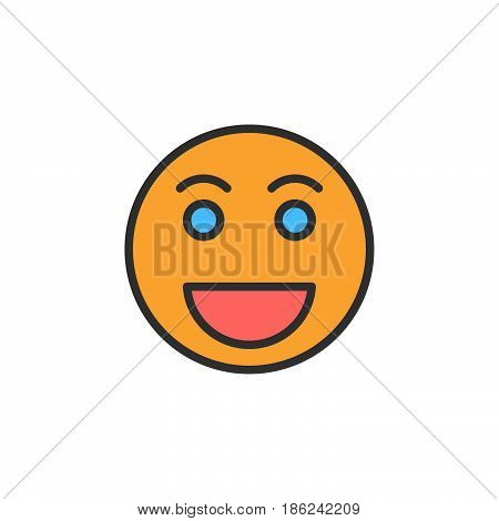 Grinning face Happy smile emoji filled outline icon line vector sign linear colorful pictogram. Symbol logo illustration. Pixel perfect