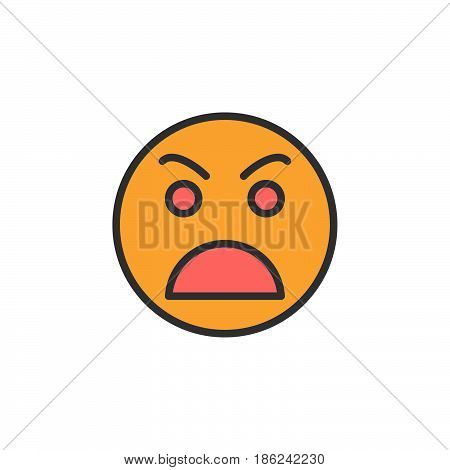 Grimacing angry face filled outline icon line vector sign linear colorful pictogram. Symbol logo illustration. Pixel perfect