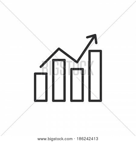 Chart graph with arrow line icon outline vector sign linear style pictogram isolated on white. Symbol logo illustration. Editable stroke. Pixel perfect