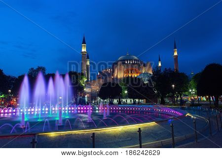 View of the Hagia Sophia mosque at evening in Istanbul Turkey