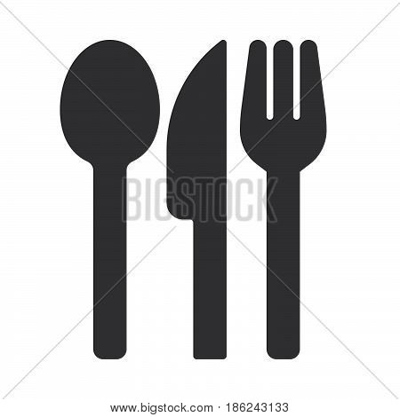 Fork spoon and knife icon vector filled flat sign solid pictogram isolated on white. Food symbol logo illustration