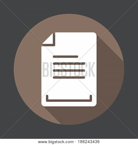 Text document flat icon. Round colorful button circular vector sign with long shadow effect. Flat style design
