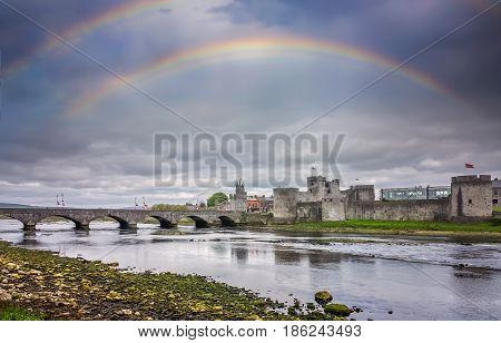 Rainbow over King Johns Castle in Limerick, Ireland