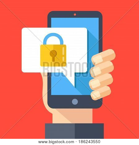 Hand holding smartphone with speech bubble and lock on screen. Padlock icon. Locked device, password, lock screen, mobile security concepts. Modern flat design vector illustration