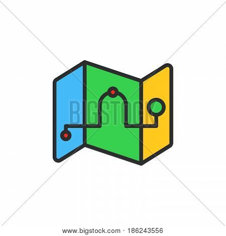 Route Map waypoints filled outline icon line vector sign linear colorful pictogram. Symbol logo illustration. Pixel perfect