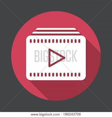 Video playlist flat icon. Round colorful button circular vector sign with long shadow effect. Flat style design