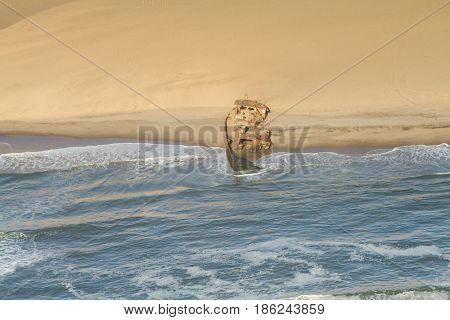 Shipwreck at the Skeleton coast Namibia Africa