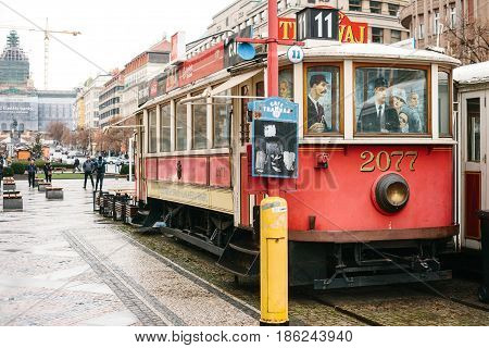 Czech Republic, Prague, December 24, 2016: Authentic unusual cafe in the form of two real old vintage trams symbolizing the meeting. Favorite place to visit by tourists. One of the unofficial sights of the city.