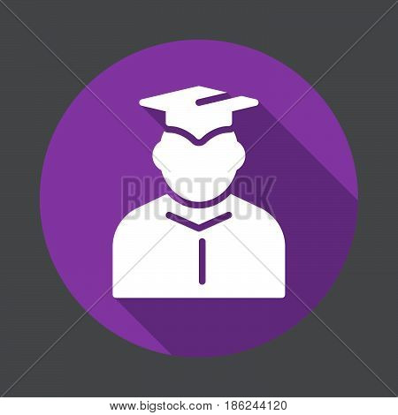 Student in mantle and graduation cap flat icon. Round colorful button circular vector sign with long shadow effect. Flat style design